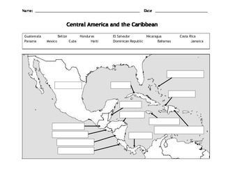 Map Of Central America And The Caribbean Teaching Maps 6th