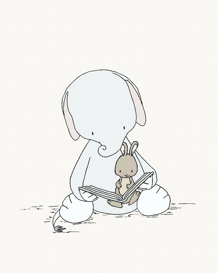 Elephant Nursery Art And Bunny Story Time