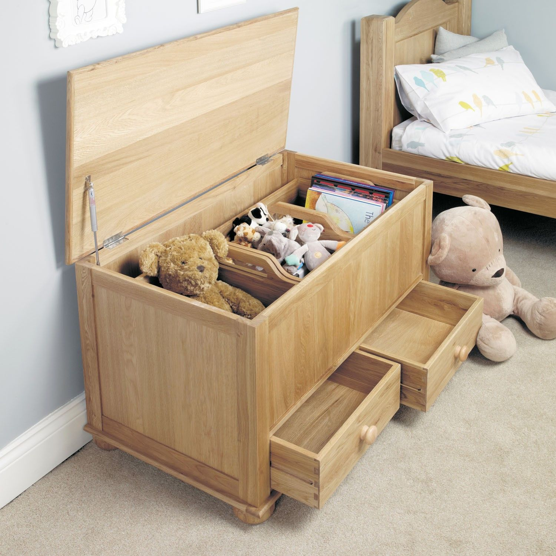 Amelie Oak Toy Box / Blanket Box With Drawers   Amelie Oak Childrenu0027s  Bedroom Furniture