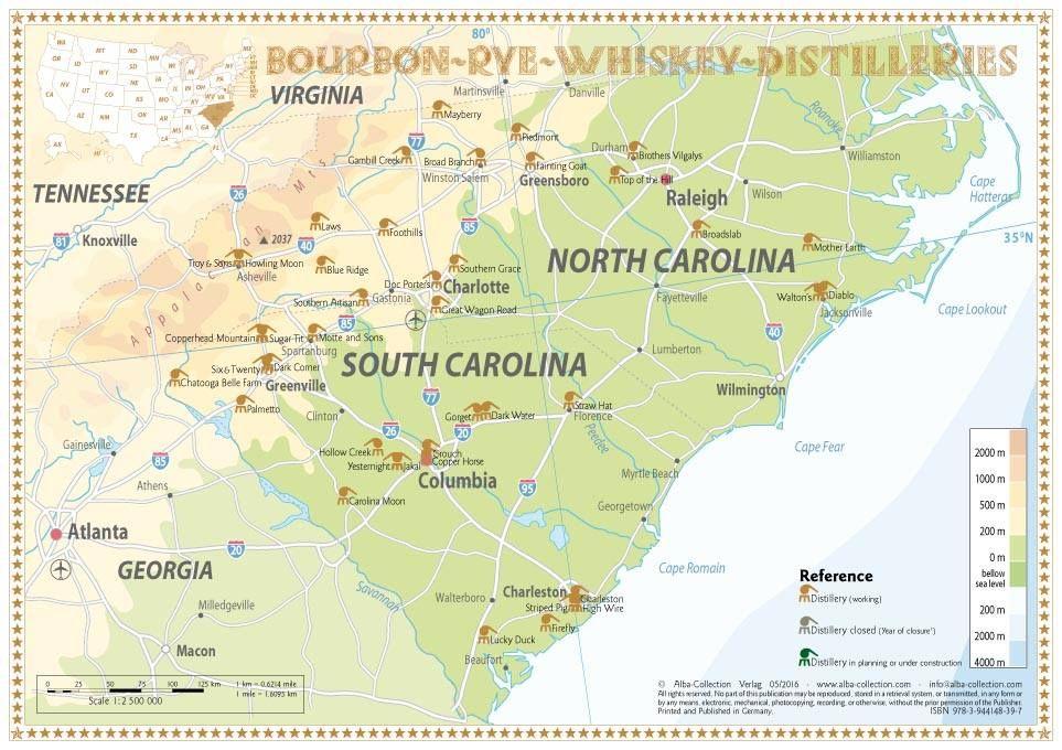 Whiskey Distilleries North And South Carolina Tasting Map