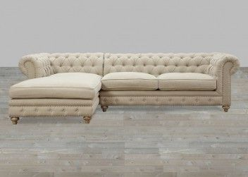 Beige Linen Sectional With Nailhead Trim With 8 Way Hand Tied Spring
