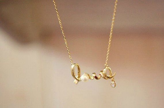 Love Pearl And Script Chain Necklace 1 Dollar Shipping Love Necklace Choker Style Necklace Womens Necklaces