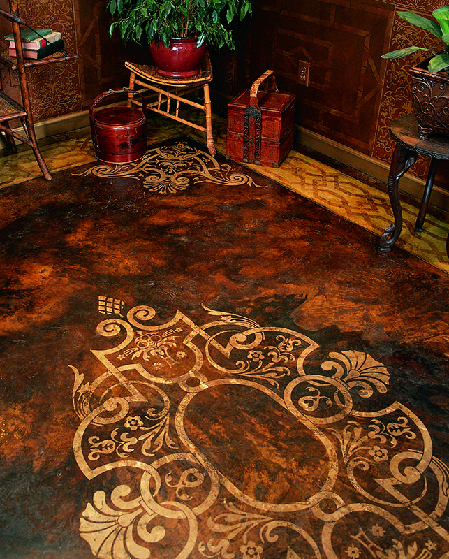 Large Designer Floor Stencils Faux Painted Carpet Design