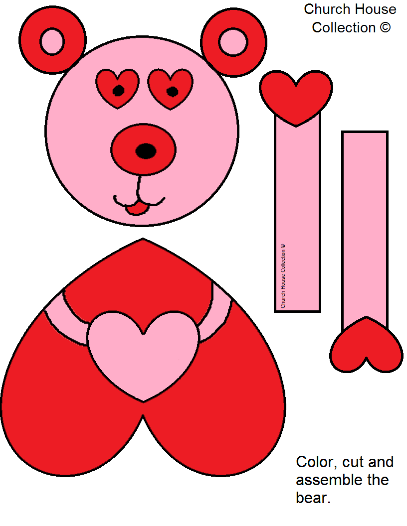 jesus loves me beary much valentines day craft for kids in sunday school or childrens church free printable template patterns - Valentine Day Crafts For Kids