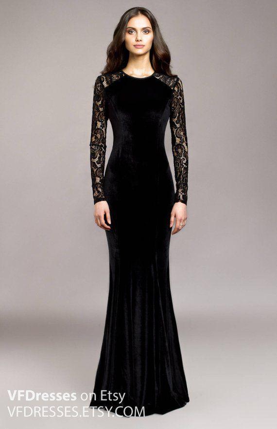 Black Velvet Evening Dress Wedding Guest Dress Lace Dress Special