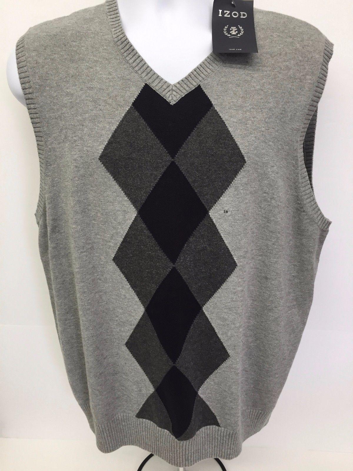 Mens IZOD Cotton Argyle Pullover Sweater Vest Gray V-Neck ...