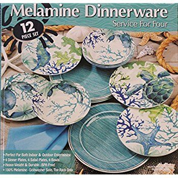 Amazon.com | 18 Piece Melamine Dinnerware Set Sealife Design (Teal Sea Horse) Dinnerware Sets | INSIDE THE BOAT FANTASY | Pinterest | Dinnerware Melamine ... & Amazon.com | 18 Piece Melamine Dinnerware Set Sealife Design (Teal ...