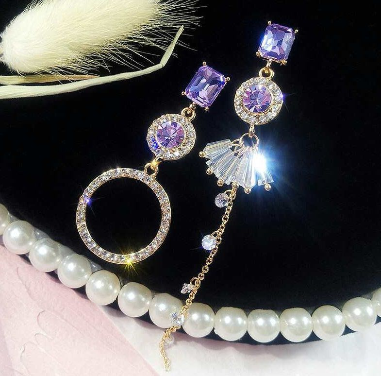 Korean Style Fancy Purple Shiny Stone Earrings