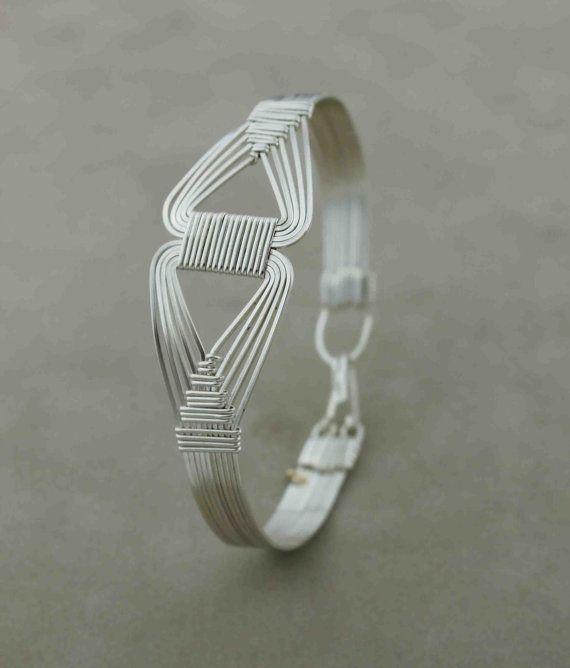 Sterling Silver Wire Wred Bracelet In Neferi Design Jewelry Handmade On Etsy 50 00