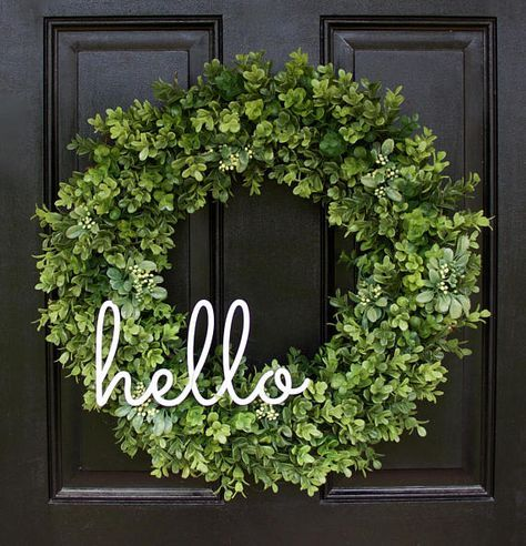 Boxwood Wreath, Greenery Wreath, Everyday Wreath, Year Round Wreath,  Greenery Wreath, Farmhouse Decor, Boxwood Door Wreath, Hello Wreath This  Prettu2026