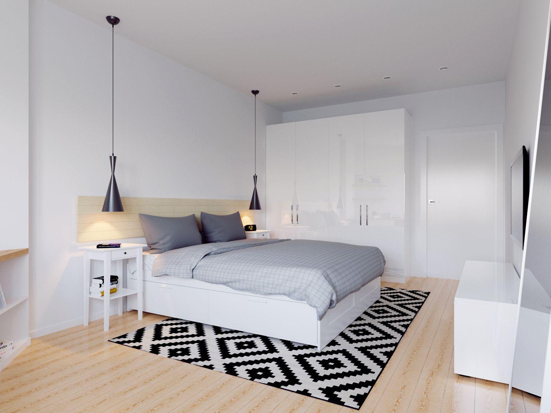 Schönes Schlafzimmer Kombination in weiß und