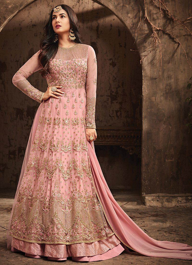 91cc494fa2 Pink Sonal Chouhan Maskeen Maisha Anarkali Suit. Net top with Santoon Inner  and Santoon and Net bottom, Net Dupatta. 100% Original Company Product with  the ...