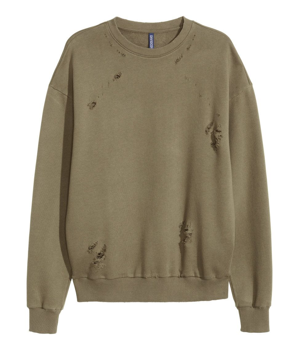 31b9621cb30b15 Washed sweatshirt with heavily distressed details, dropped shoulders, long  sleeves, and ribbing at cuffs and hem.  H&M Divided Guys