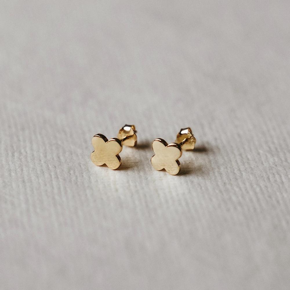 Minimalist Sterling Silver Jewellery Tiny 10mm GOLD-Plated Lightning Bolt St...
