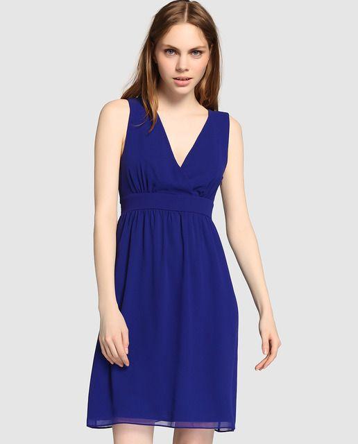 d58e7296b Vestido de mujer Naf Naf azul cobalto con escote cruzado