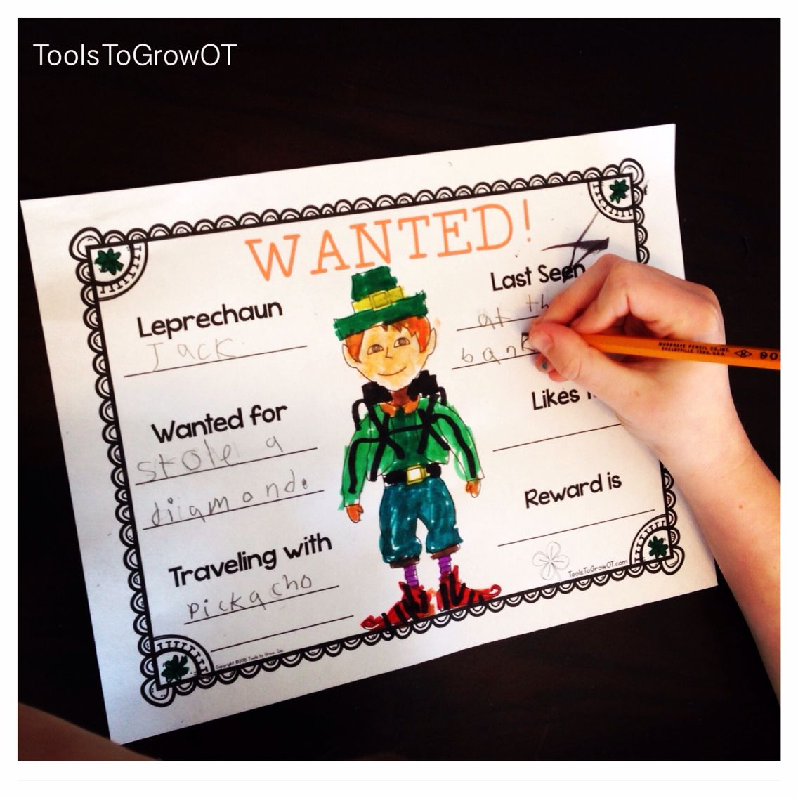 Wanted Leprechaun Poster Activity