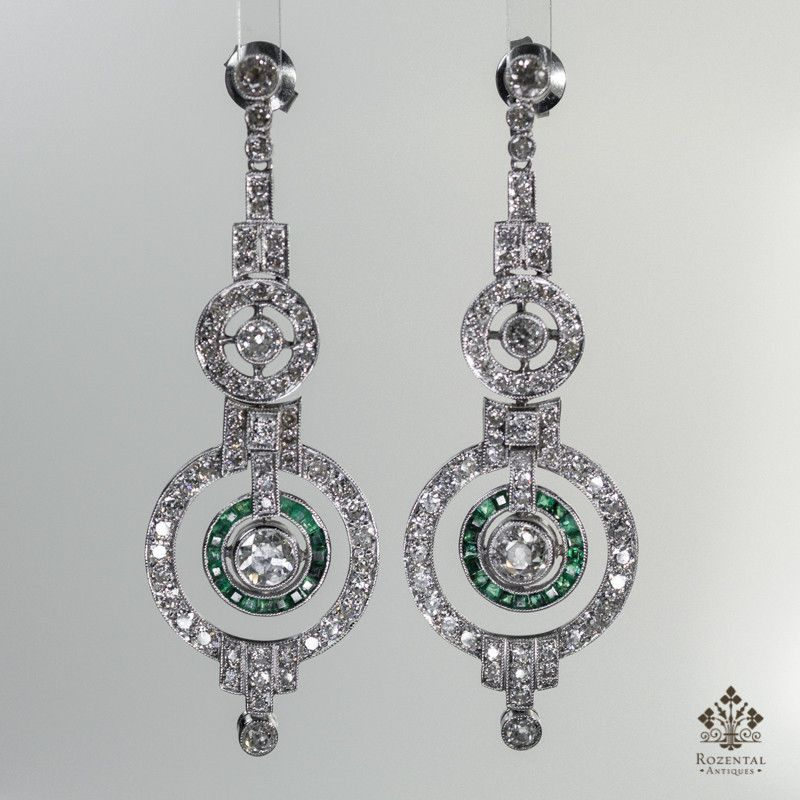Antique Art Deco Platinum 4.3CTW. Diamond & Emerald Earrings (hva)