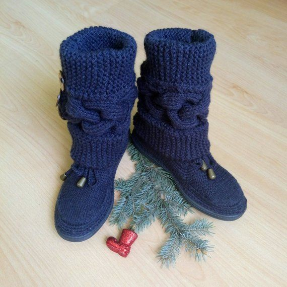 Women s knitted boots Adult knitted shoes Casual shoes Boho chic boots  Crochet socks with sole Autum 5562d4dcf8
