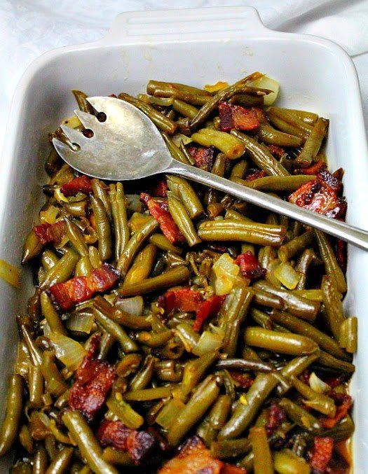 Kansas Old Fashioned Green Bean recipe. There's bacon involved and with a sweet and sour dressing you can't help but ask for 2nd's.