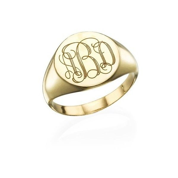 Signet Ring In Gold Plating With Engraved Monogram Monogram Ring Silver Sterling Silver Monogram Ring Signet Ring