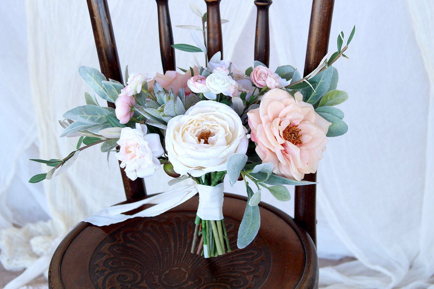 Wedding bouquets without roses  Blush and Mint Succulents Wedding Bouquet  Romatic Style Succulent