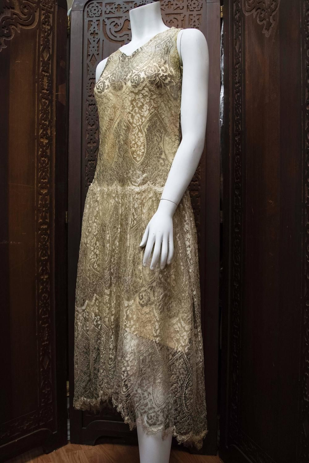 1920 wedding dress  s Silver Lamé Lace Dress This piece is incredibly rare