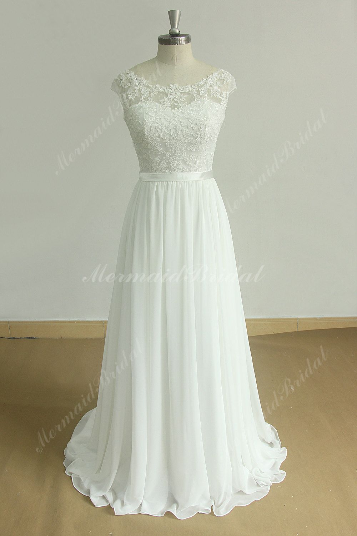 Stunning open back A line chiffon lace beach wedding dress with ...