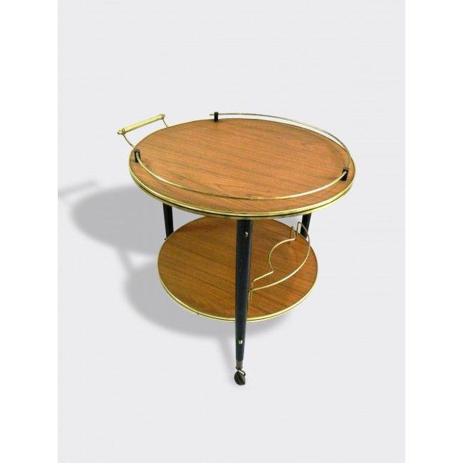 Desserte sur 3 pieds avec roulettes, 2 plateaux ronds en formica - peinture sur meuble bois