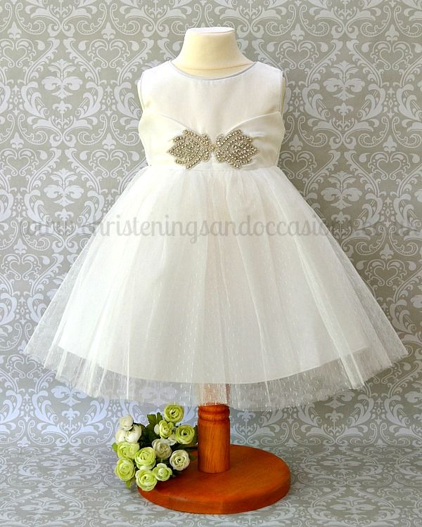 d5ade0e92 Couche Tot Girls Ivory Diamante Sash Special Occasion Dress ...