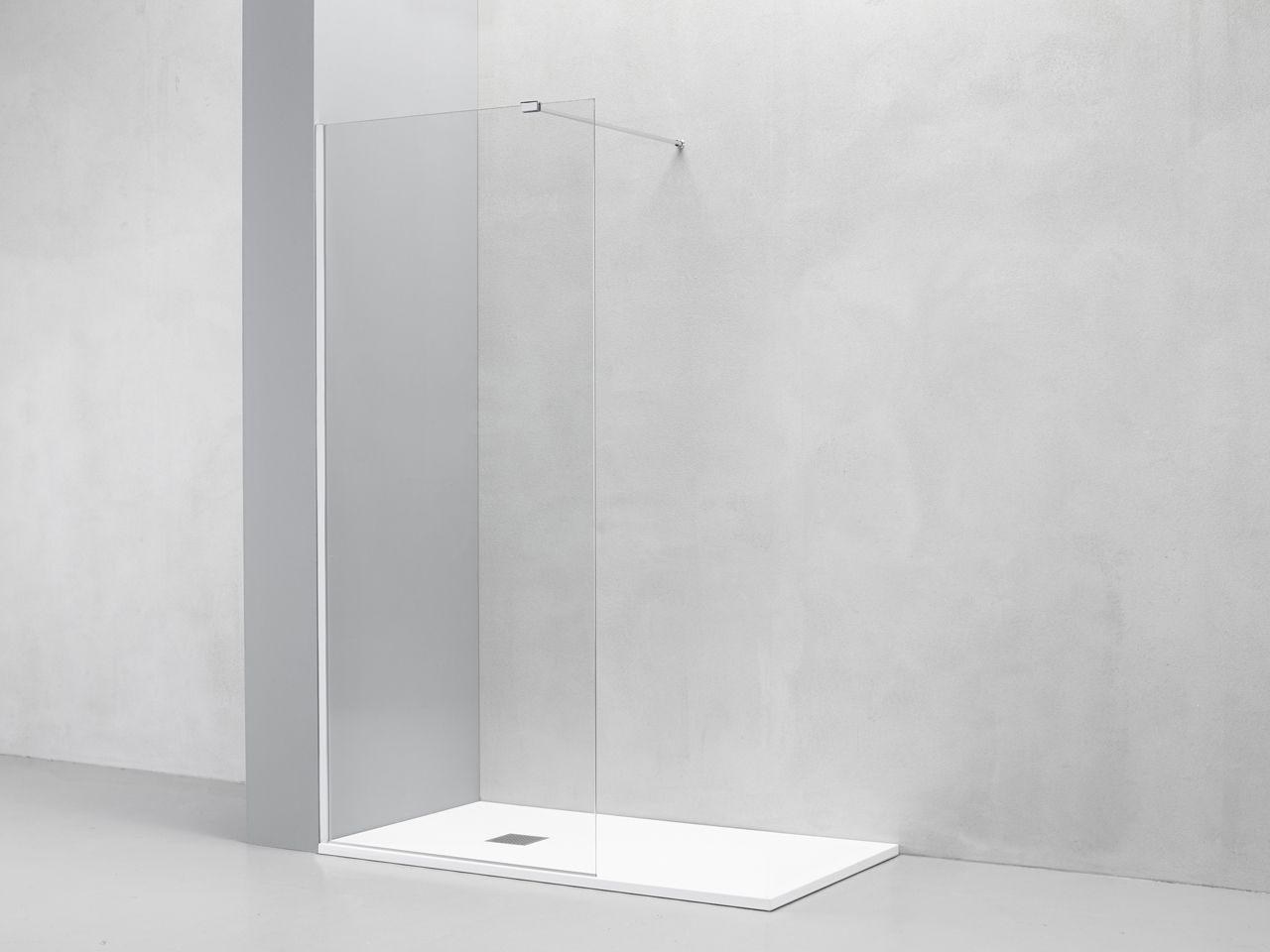 Box Doccia Walk In LUX in Cristallo Trasparente Cromo cm
