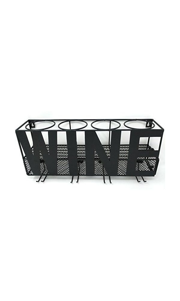 Gianna S Home Metal Wall Mounted Wine Rack And Cork Holder Deal Price