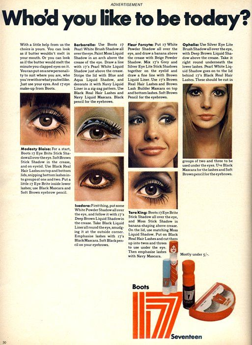 Advertisement for Boots 17 makeup with tutorials on different eye makeup looks, c. 1968.