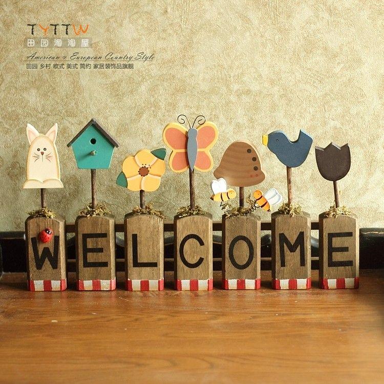 Door welcome plate, big Fashion solid wood rustic hangings wall ...