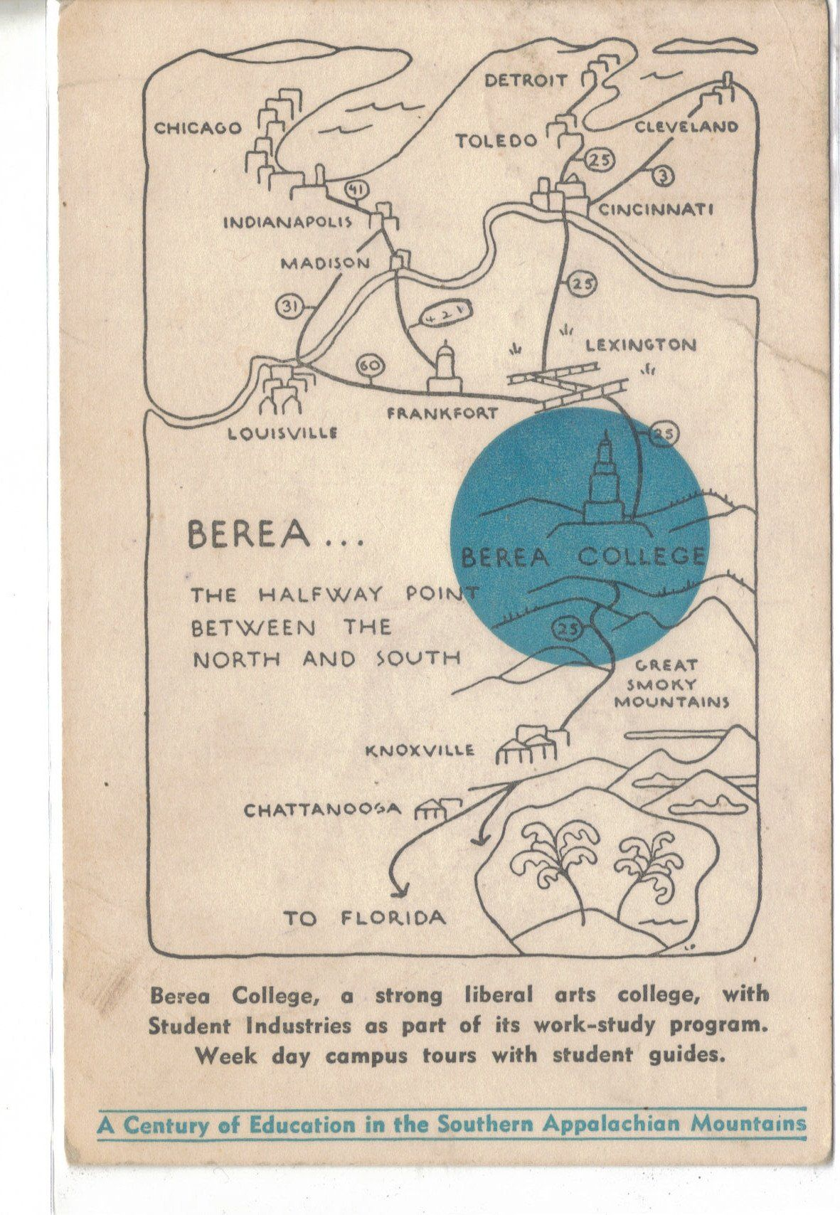 Map Post Card-Berea College-Kentucky 1956 in 2019 | Products | Berea ...