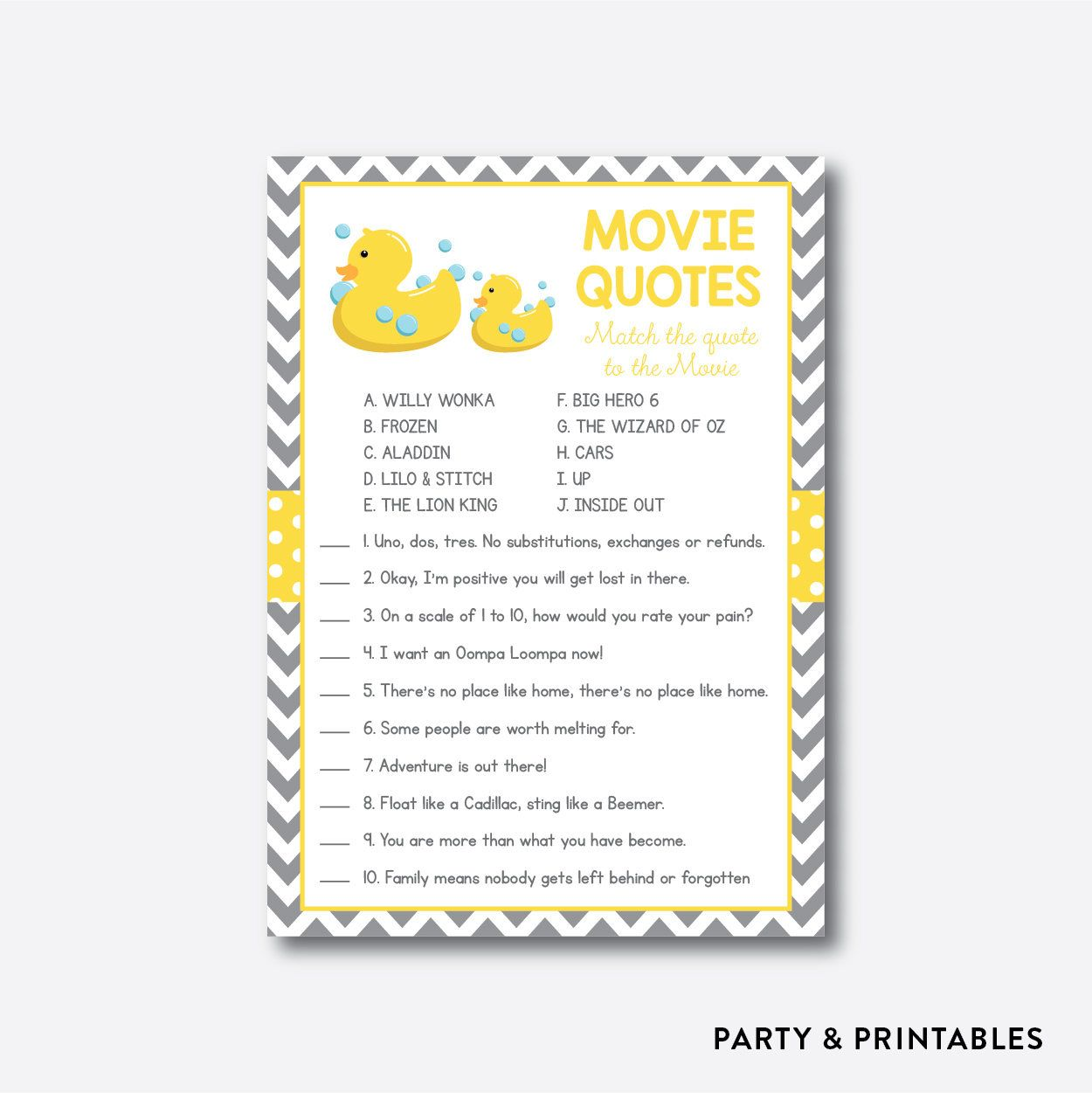 Instant Download Rubber Duck Movie Quotes Game Rubber Duck Movie Quotes Card Games Lilo And Stitch