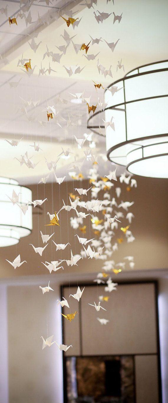 Wedding Centerpiece, Party Decorations  Origami Crane Chandelier  Unique  Wedding Reception Decor, Wedding