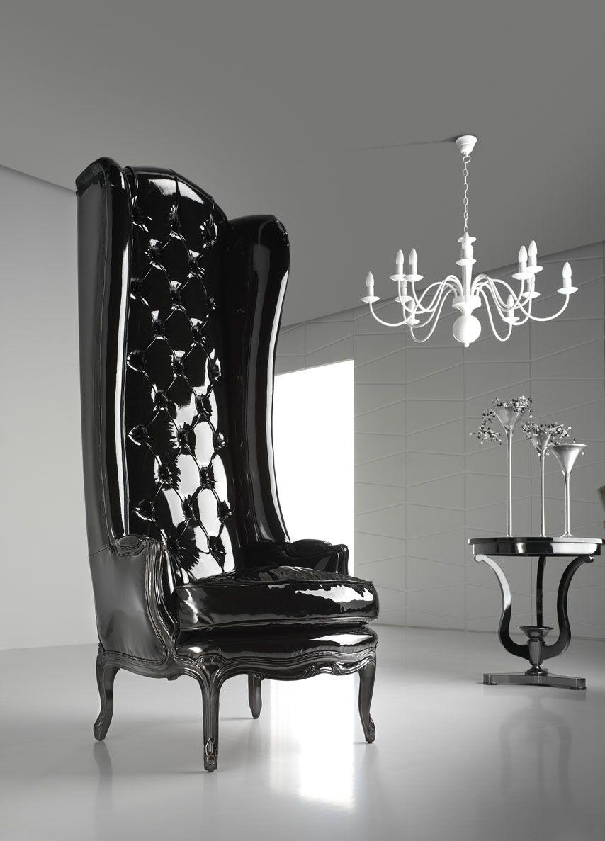 Sill N De Respaldo Alto Tallado En Madera Maciza Lacada En Negro  # Muebles Goticos