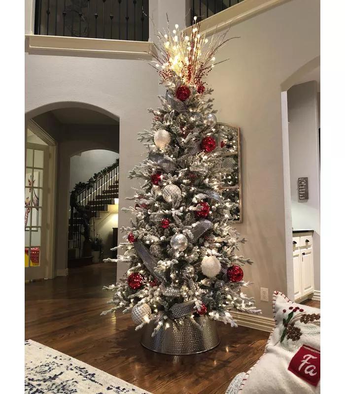 9ft Prelit Artificial Christmas Tree Full Flocked Balsam