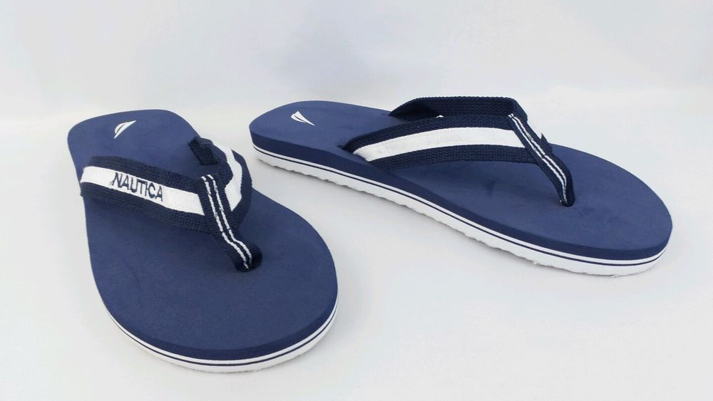 9ddbdd136 Nautica Mens SZ 9 Classic Navy Blue White Flip Flop Thongs Toe Sandals   Nautica  FlipFlops