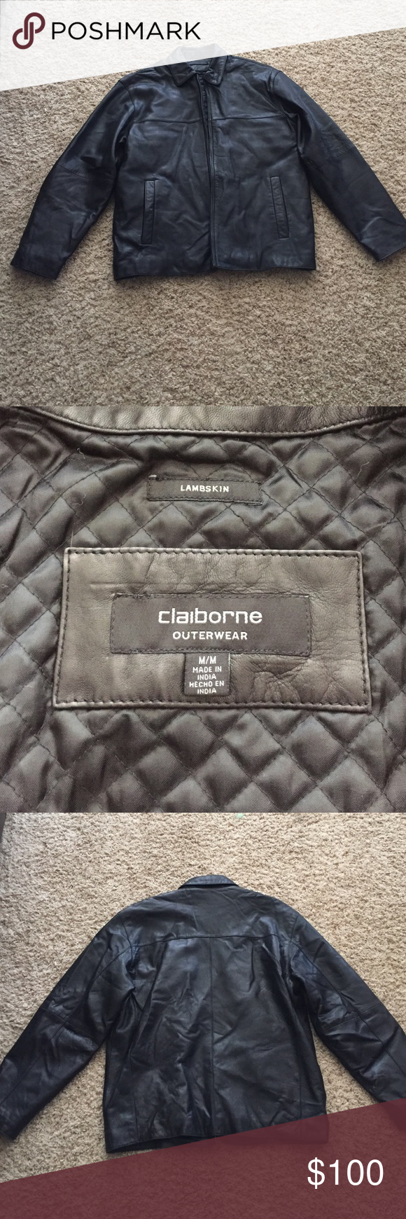 Men's size M leather jacket Men's lambskin leather jacket size M by Clairborne in great condition Claiborne Jackets & Coats