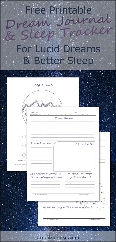 Printable Dream Journal And Sleep Tracker Free Pdf Dled Rose