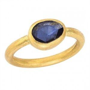 Lika Behar 24K Gold & Blue Sapphire Ring, Lika Behar Gold Sapphire Ring, Lika Behar Ring