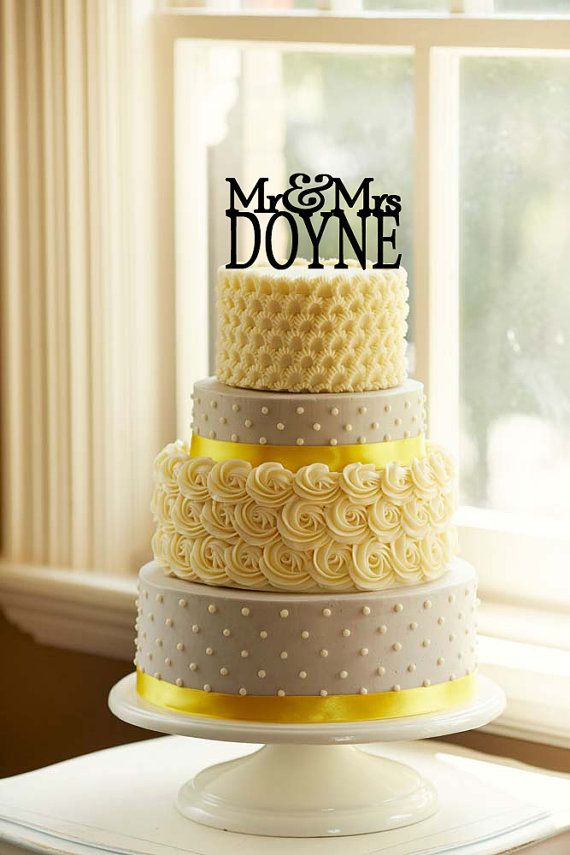 Custom+Wedding+Cake+Topper+PersonalizedLAST+NAME+Monogram+by+ ...