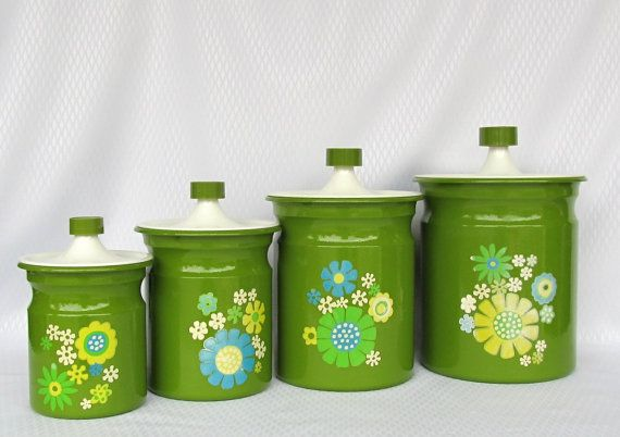 Fun! Vintage Kromex Green Aluminum 4 Piece Canister Set by catiques on Etsy