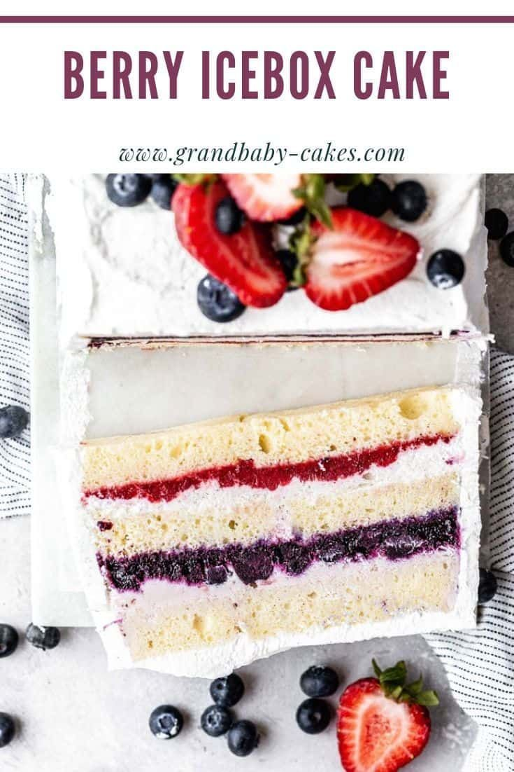 This Berry Icebox Cake recipe is a summer dream! Imagine layers of decadent strawberry ice cream, creamy vanilla ice cream and homemade berry sauces sandwiched between a moist, tender pound cake and frosted with a creamy whipped cream and topped with berries. Berry Icebox Cake recipe is a summer dream!  Imagine layers of decadent strawberry ice cream, creamy vanilla ice cream and homemade berry sauces sandwiched between a moist, tender pound cake and frosted with a creamy whipped cream and topped with berries.