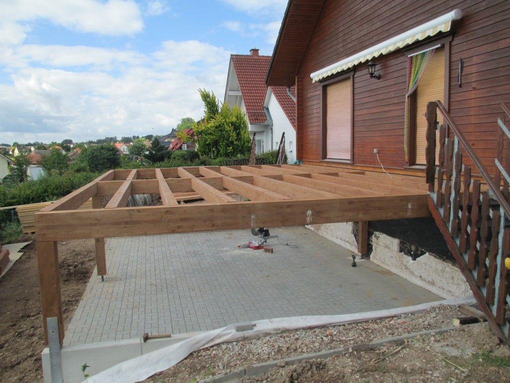 Terrasse Selber Bauen Unterkonstruktion Holzunterkonstruktion