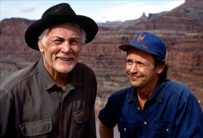 Jack Palance And Billy Crystal During The Filming Of City Slickers 1991 Retro Pop City Slickers Billy Crystal