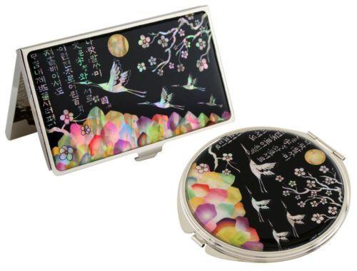 Nacre Crane Business Card Holder Id Case Makeup Compact Mirror Gift Set