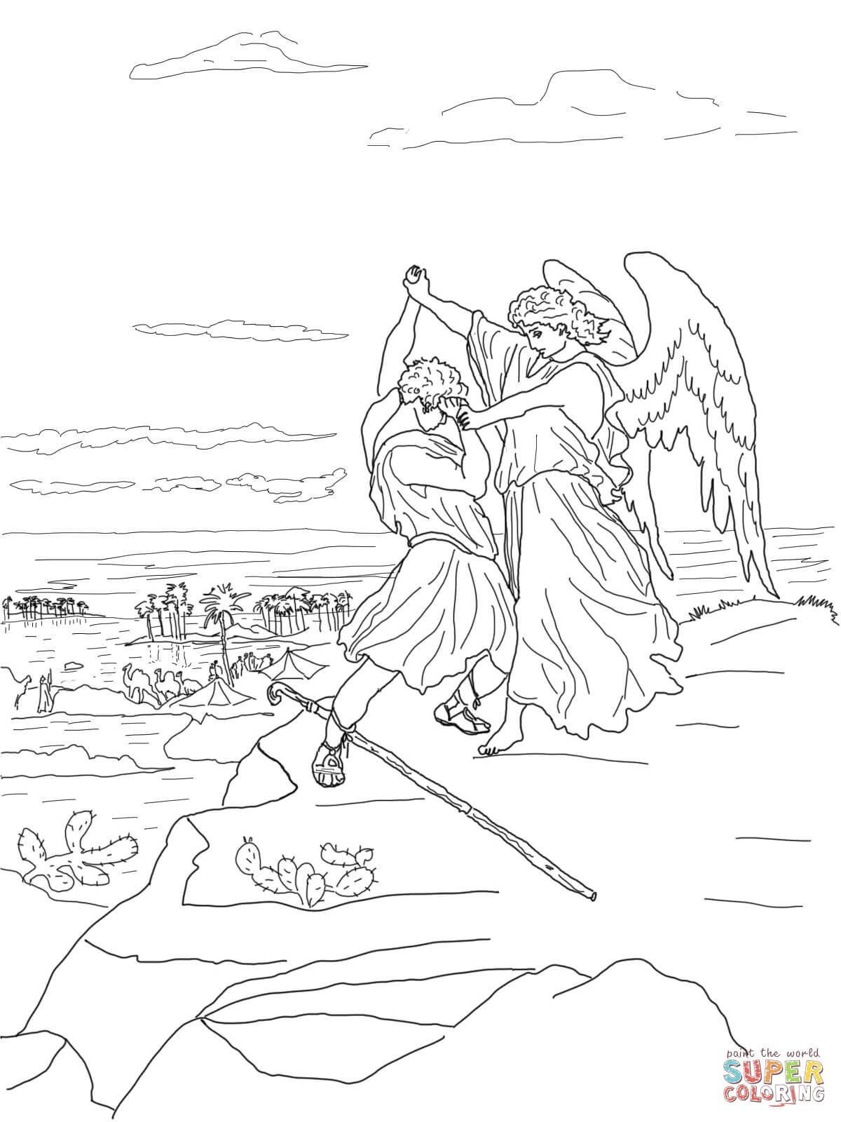 Jacob Wrestles with God coloring page from Gustave Doré