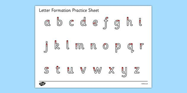 Letter Formation Alphabet Handwriting Practice Sheet Lowercase – Letter Formation Worksheets